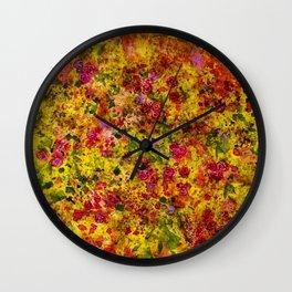 Golden  Summer Collection Rose  Flowers Pattern Wall Clock