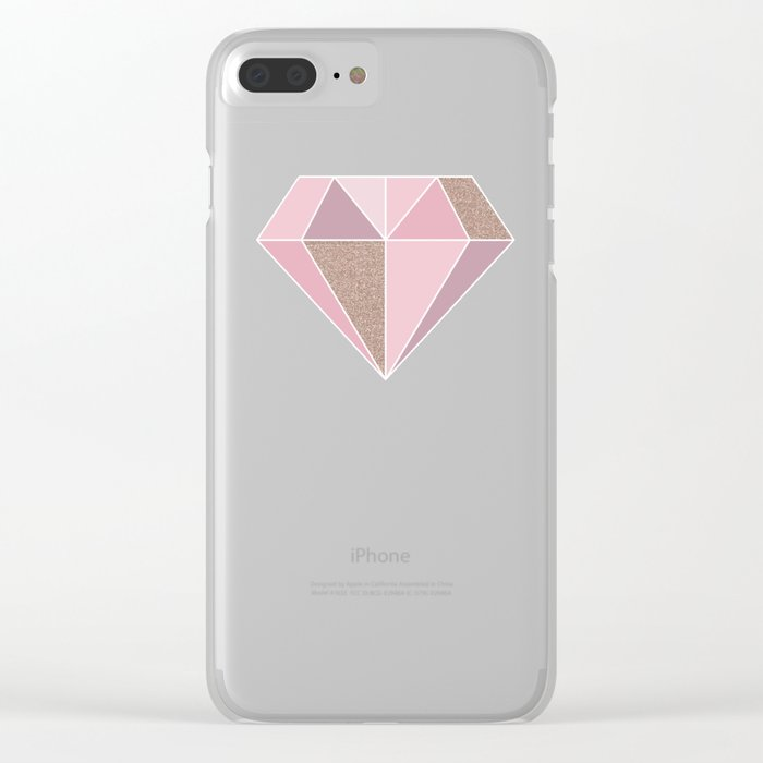 Shades of rose gold diamond Clear iPhone Case