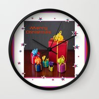 gift card Wall Clocks featuring Merry Christmas Gift Boxes Holiday Card  by taiche