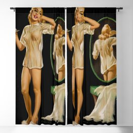 Baby doll behind on her sleep female 1940 pinup vintage poster Blackout Curtain