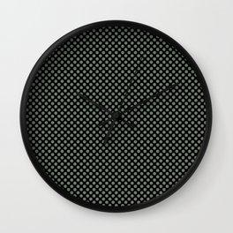 Black and Sea Spray Polka Dots Wall Clock