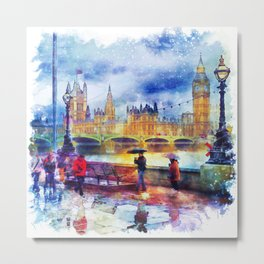 London Rain watercolor Metal Print