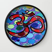om Wall Clocks featuring OM by Art By Carob