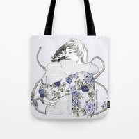 larry david Tote Bags featuring Larry by Coconut Wishes