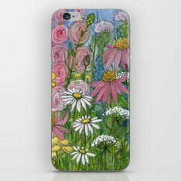 Floral Watercolor Garden Flowers Vibrant Colors Prints For Sale iPhone Skin