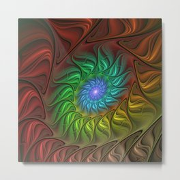 Colorful Spiral Fractal Metal Print