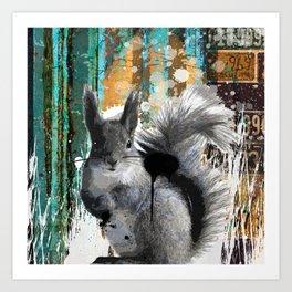 Cheeky Industrious Squirrel  Art Print