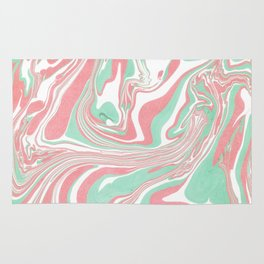 Elegant pink green abstract watercolor marble Rug