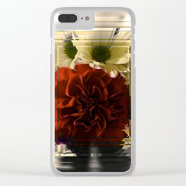 Carnation And Daisies In Glass Display Clear iPhone Case