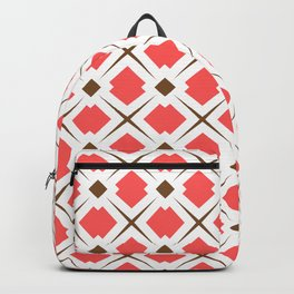 Chocolate Brown + Coral: Pattern No. 6 Backpack