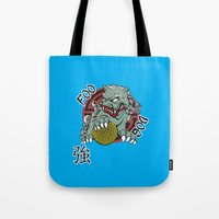 foo fighters Tote Bags featuring Foo Dog by Buby87