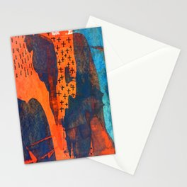 Time to Go Orange and Blue Abstract Art Stationery Cards