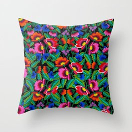Grandmommy Flowering Bouquet - Poppies Centaurea Violet - Green Leaves - Blossom - Satin Stitch Embroidery - Colorful on Black Throw Pillow