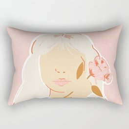 Girl and her Flower Rectangular Pillow
