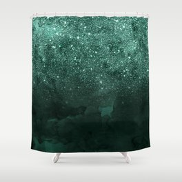 Green deep forest faux glitter ombre on green watercolor Shower Curtain