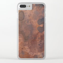 Tarnished, Stained and Scratched Copper Metal Texture Industrial Art Clear iPhone Case