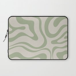 Liquid Swirl Abstract Pattern in Almond and Sage Green Laptop Sleeve