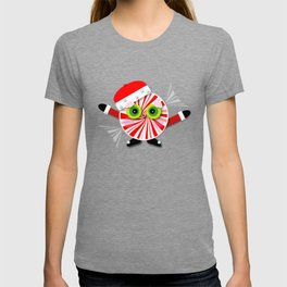 Red and White Christmas Peppermint Cartoon T-shirt