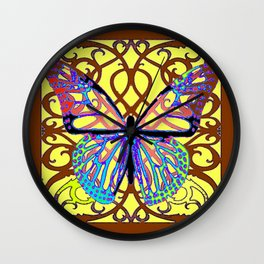 ITALIAN STYLE BROWN-YELLOW BUTTERFLY FILIGREE Wall Clock