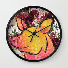 On he Farm-Pig Wall Clock