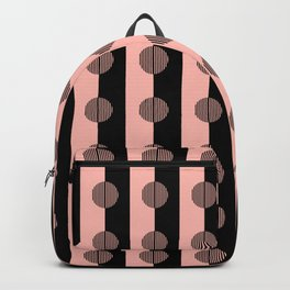 Horizons Geometric Stripes - Peach Pink & Black Backpack
