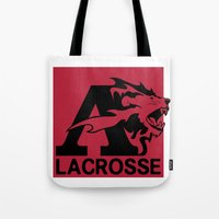 lacrosse Tote Bags featuring Albright Lacrosse by Mike Stark