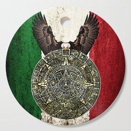 MEXICAN EAGLE AZTEC CALENDAR FLAG Cutting Board