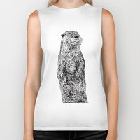 otter Biker Tanks featuring Otter by Meredith Mackworth-Praed