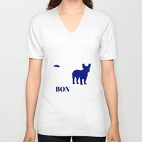 bonjour V-neck T-shirts featuring Bonjour by Laura Maria Designs