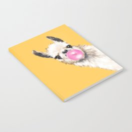 Bubble Gum Sneaky Llama in Yellow Notebook
