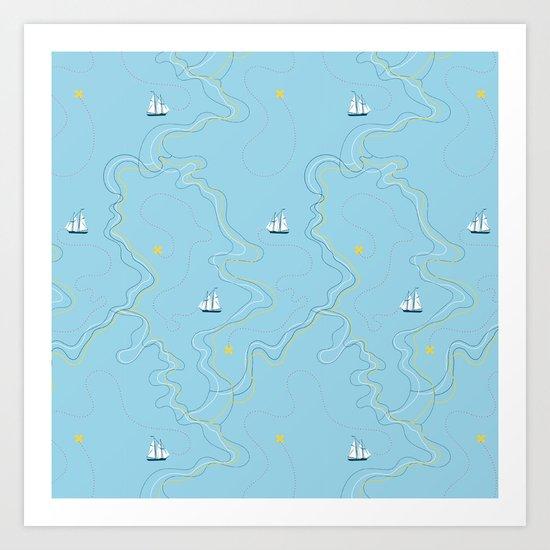 Sailing for the treasure Art Print