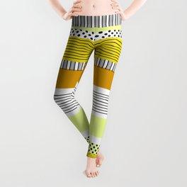 Orange Striped Pattern with polka dots color blocking Leggings