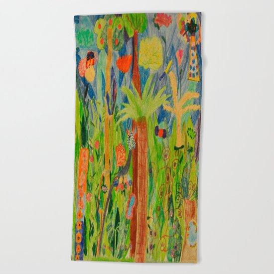 Paradise Delight | Kids Painting by Elisavet Beach Towel