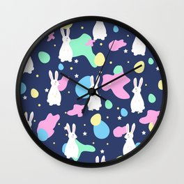 Easter bunnies and Eggs Pattern Wall Clock