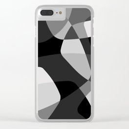 Mid Century Modern Abstract Rock Layers Charcoal Clear iPhone Case