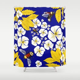 Bumbly Bees with Backbacks Shower Curtain