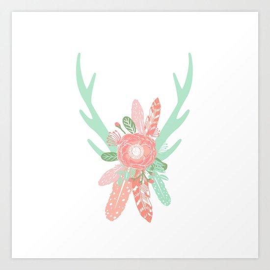 Deer antler florals flower bouquet with antlers minimal boho nursery art decor Art Print