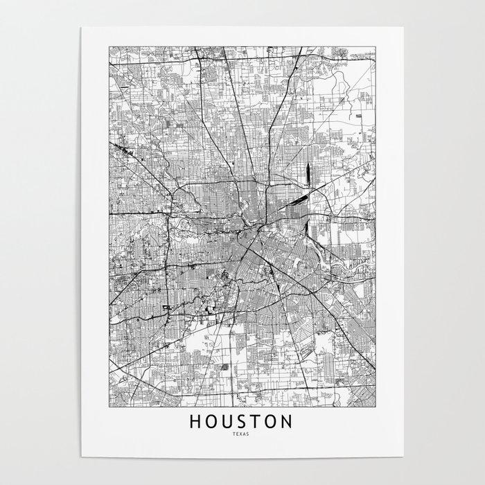 Houston White Map Poster