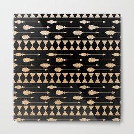 Trendy elegant black faux gold glitter feathers arrows Metal Print