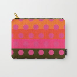 Earth and Summer Sky - Color Strips with Pink Dots Carry-All Pouch