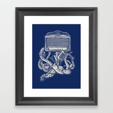 Rocker robot Navy Framed Art Print
