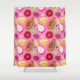 Seedy Fruits in Hot Neon Pink Shower Curtain