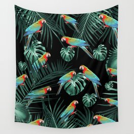 Parrots in the Tropical Jungle Night #2 #tropical #decor #art #society6 Wall Tapestry