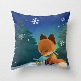 Fox & Boots - Winter Hug Throw Pillow