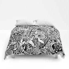 Mushroom madness black and white Comforters