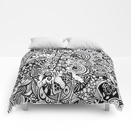 Mushroom madness black and white Comforters