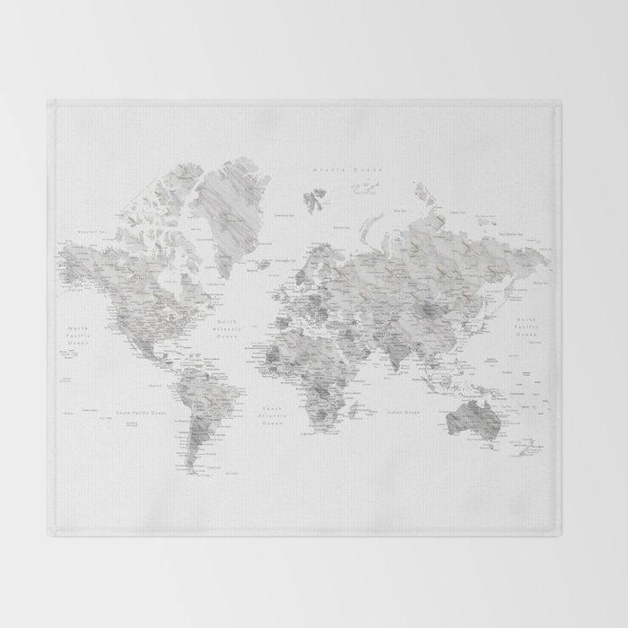 Marble world map in light grey and brown throw blanket by marble world map in light grey and brown throw blanket gumiabroncs Gallery