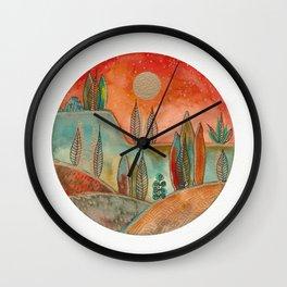 Circular watercolor landscape 3 Wall Clock