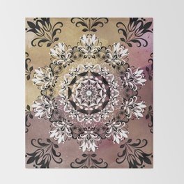 ELEGANT BLACK AND WHITE WATERCOLOR MANDALA Throw Blanket