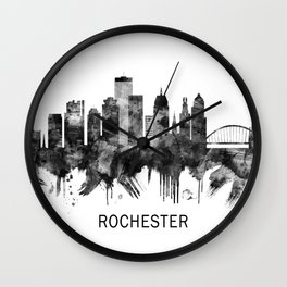 Rochester New York Skyline BW Wall Clock